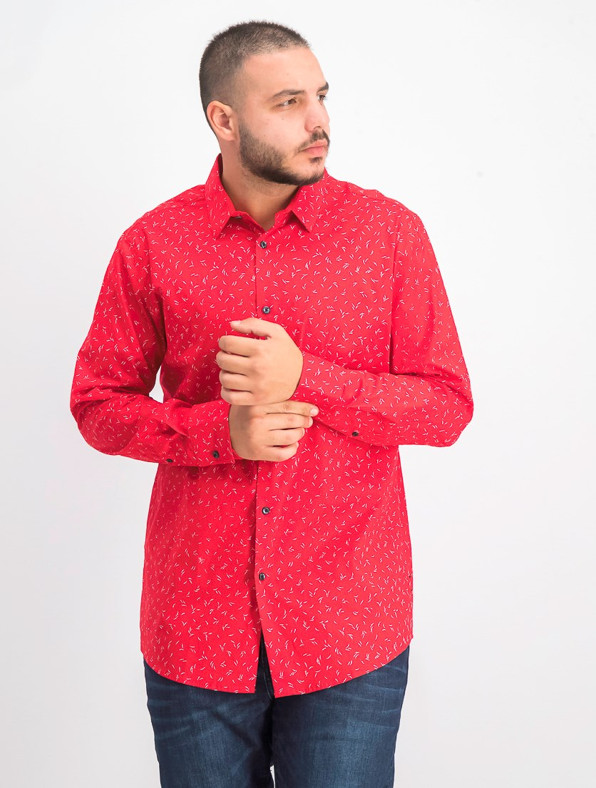 Men's Slim Fit Wheat-Print Shirt, Red Combo