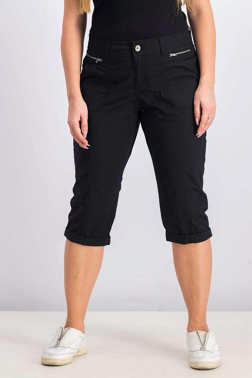 Petite Cuffed Capri Pants, Deep Black