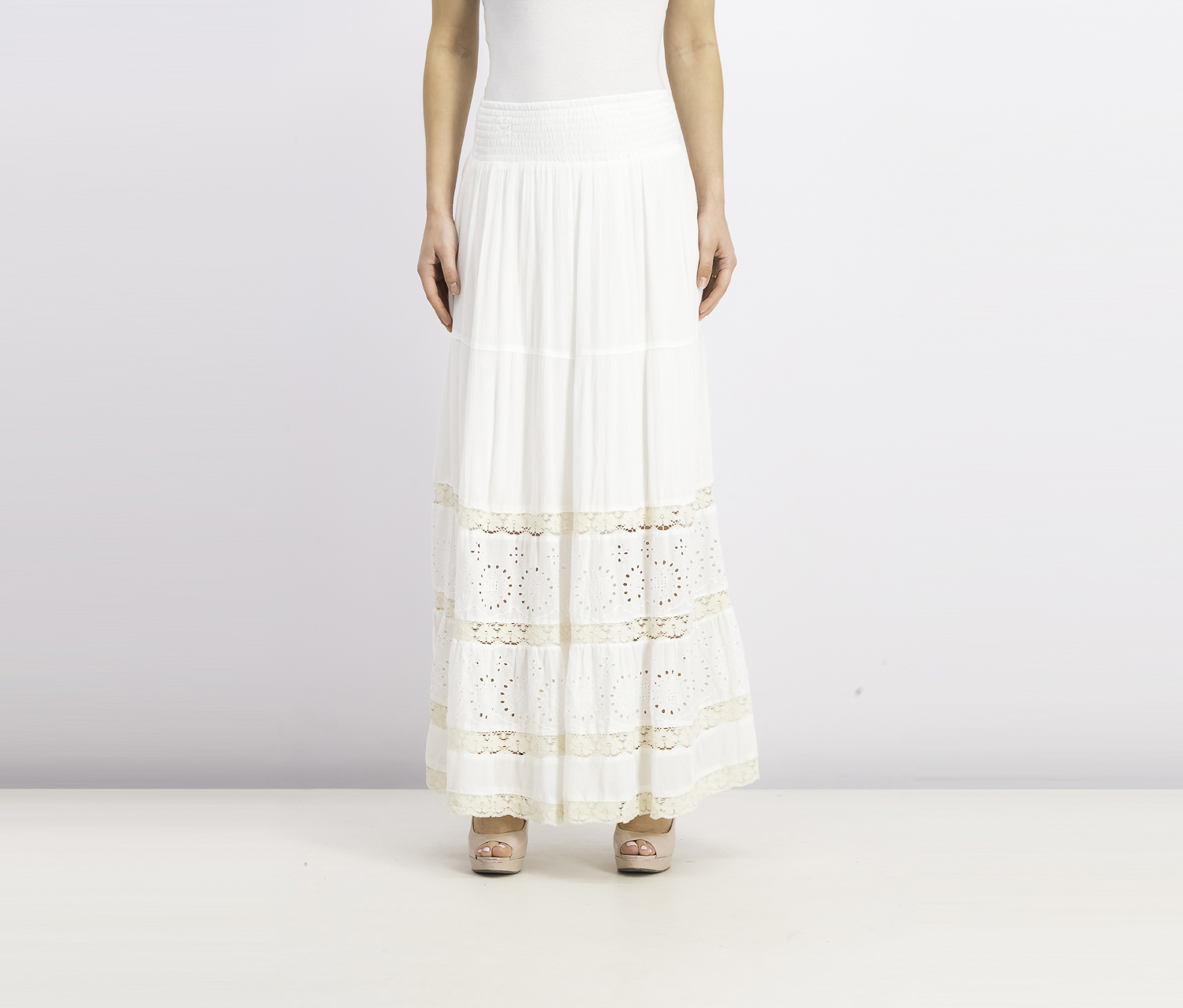 . Women's Crochet Eyelet Maxi Skirt, Bright White