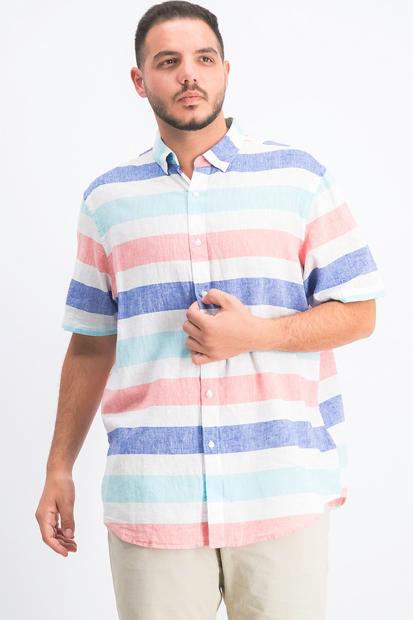 Men's Wide Striped Shirt, Turquoise Combo