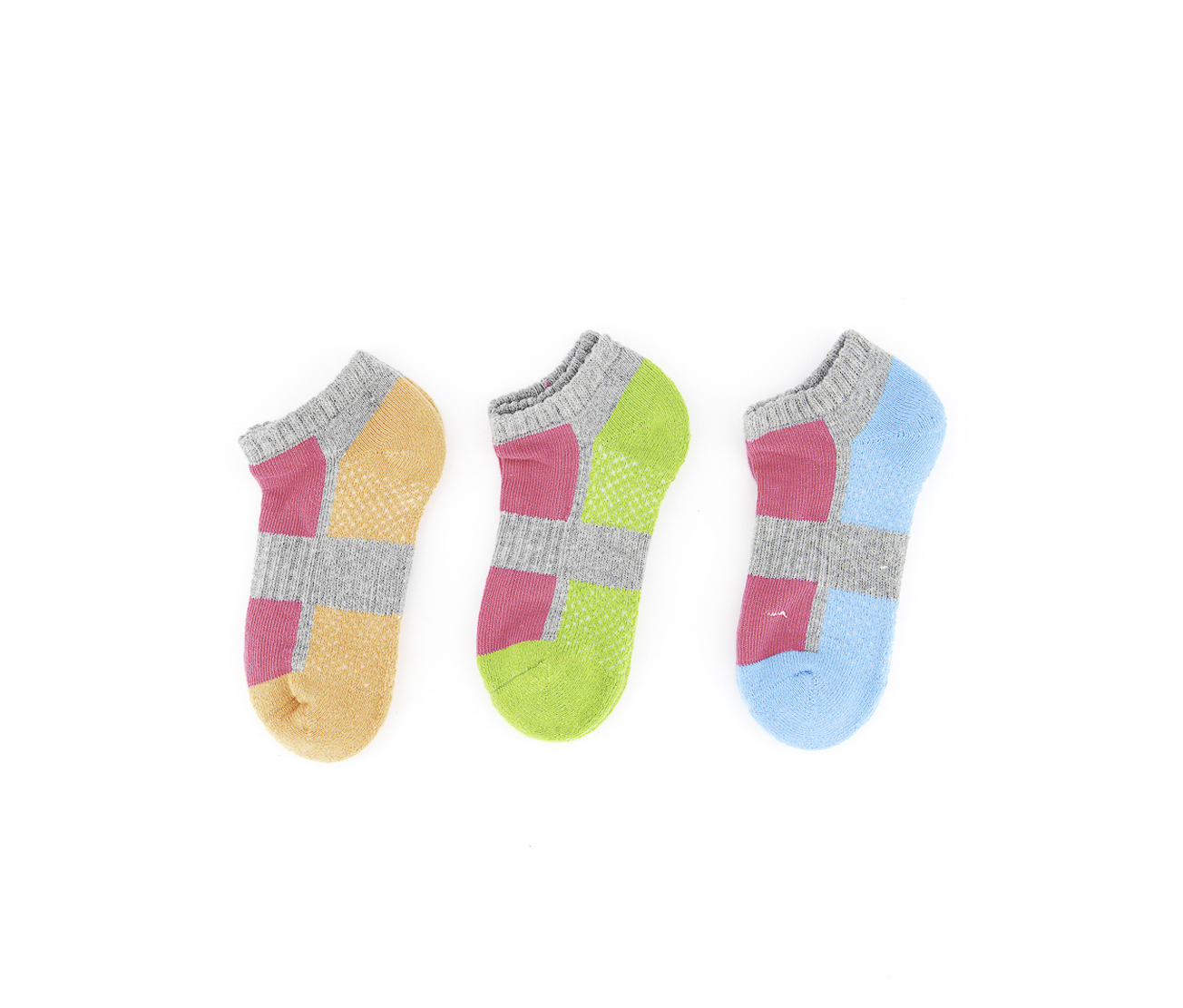 Girls 3 Pair Colorblock Socks, Grey/Pink/Orange/Green/Blue