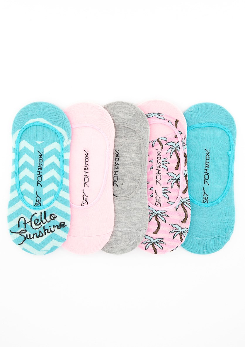 Women's 5 Pack Pattern Footies, Pink/Turquoise/Grey