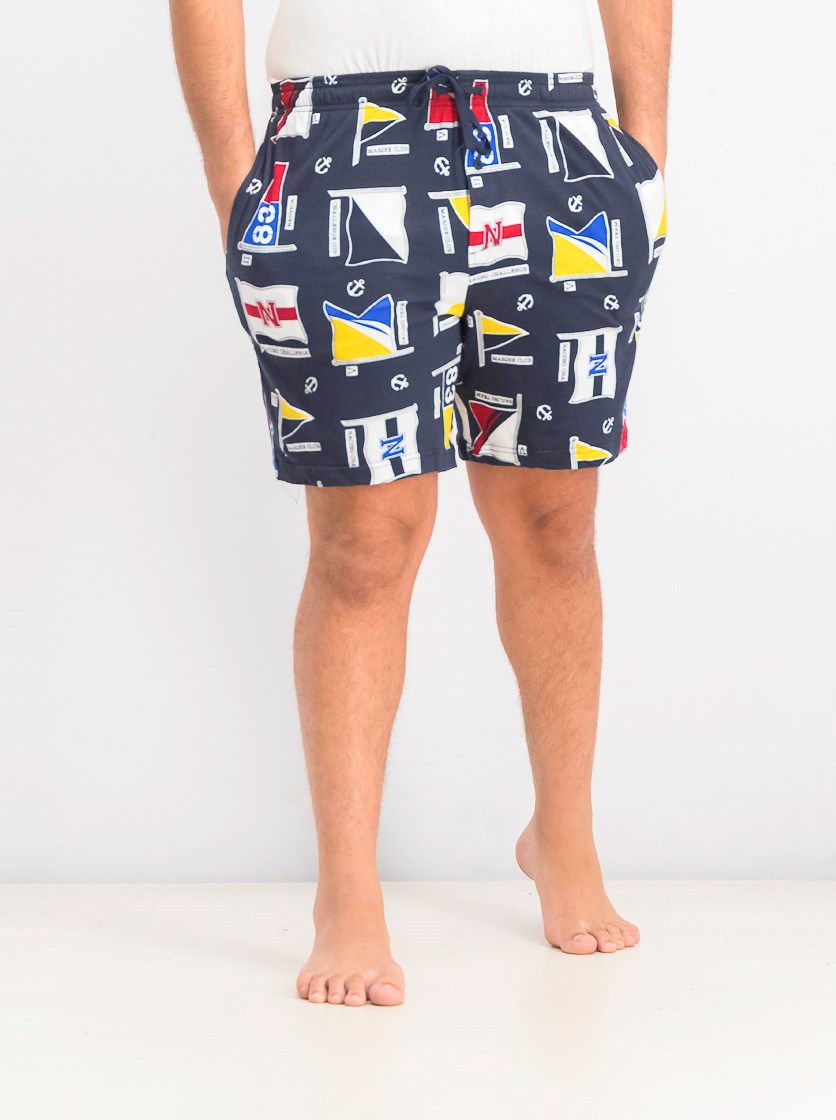Men's Printed Cotton Pajama Shorts, Navy
