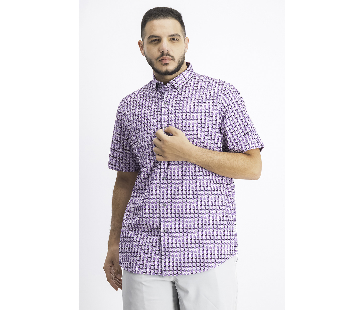 Men's Ora Printed Shirt, Purple Combo