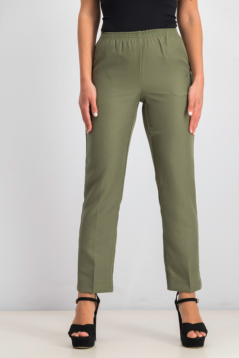 Women's Petite Pull-on Pants, Olive Spring