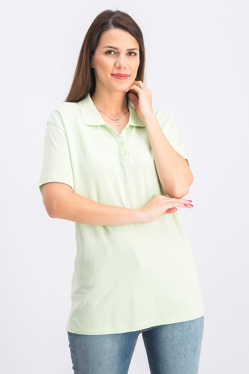 Women's Cotton Pique Polo Top, Calm Aloe