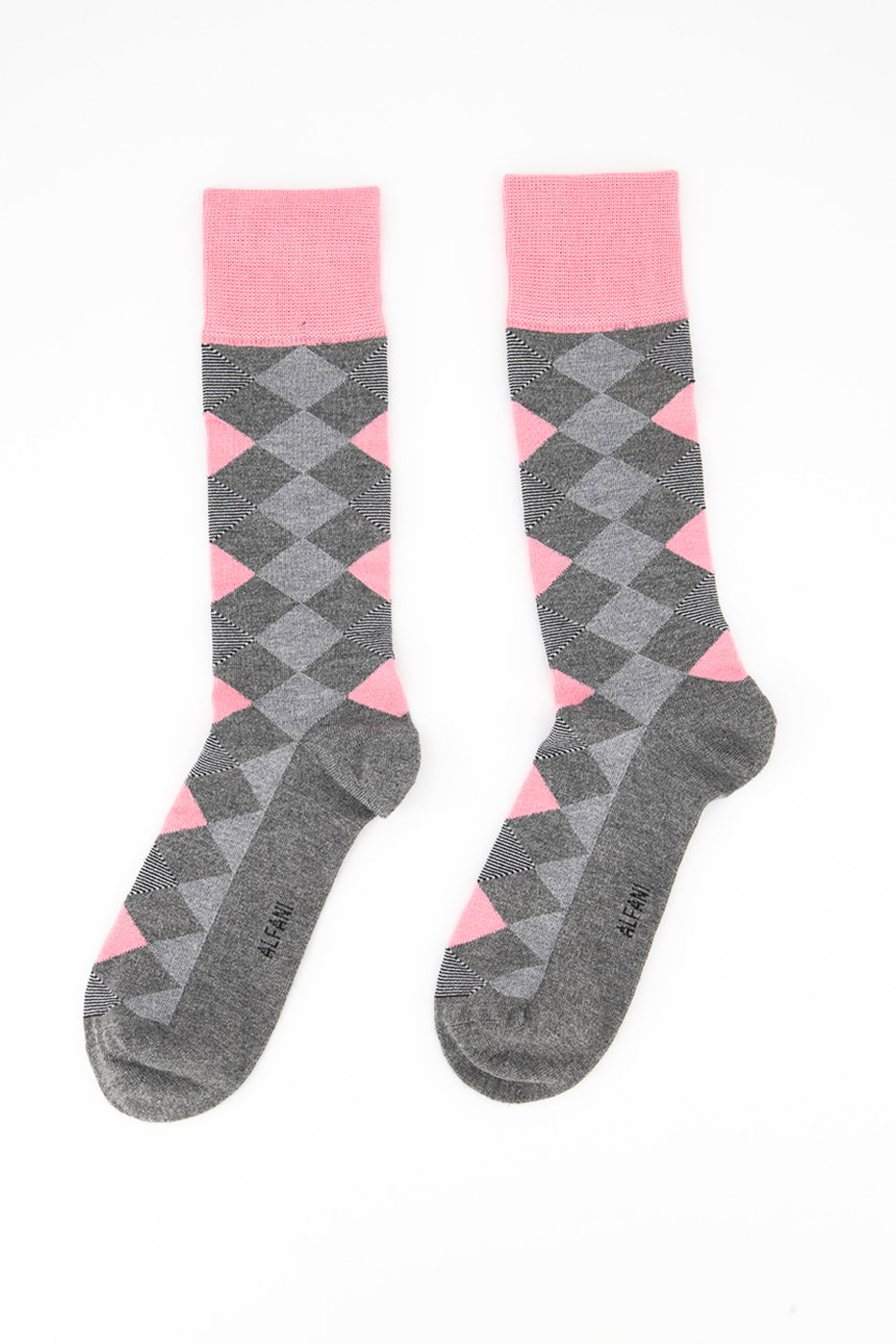 Men's Seamless Crew Dress Socks, Grey/Pink