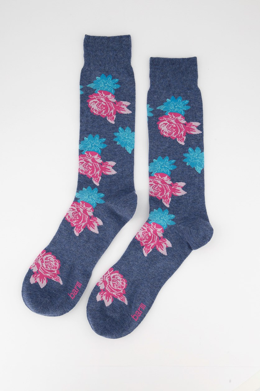 Men's Vintage Block Floral Socks, Blue/Pink
