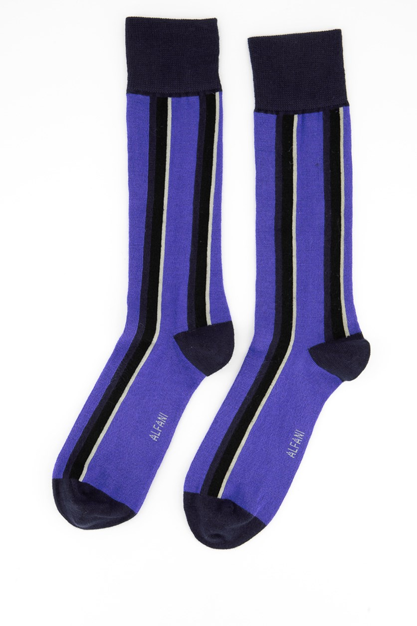 Men's Striped Crew Dress Socks, Purple/Navy