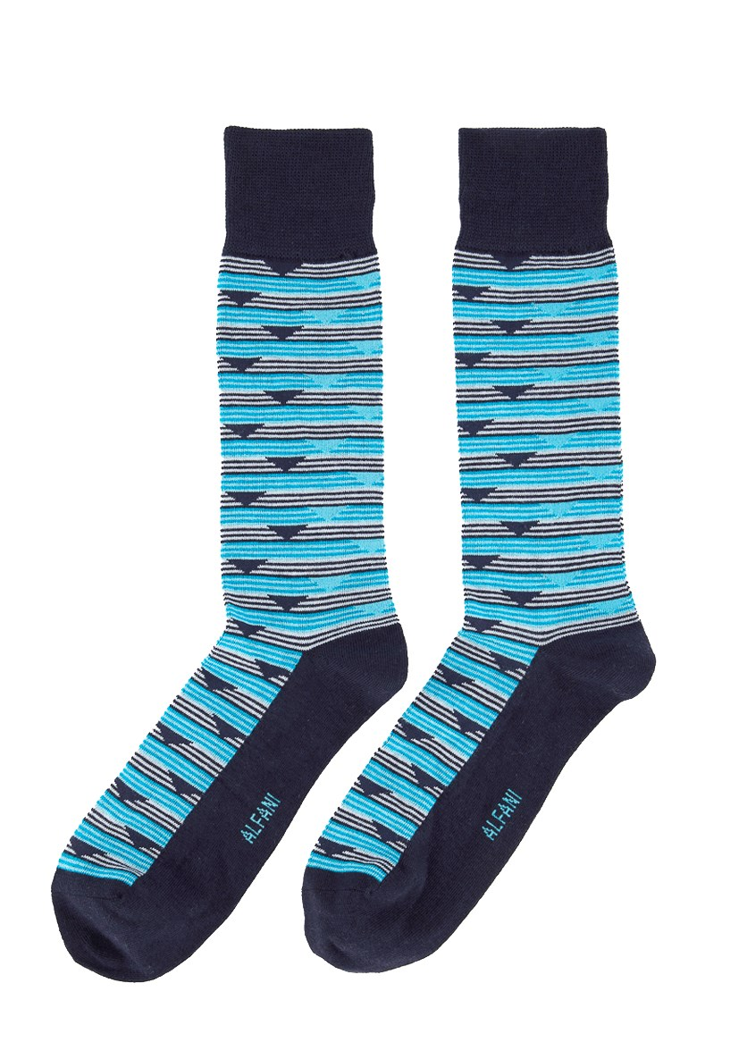 Mens Striped Triangle Dress Socks, Turquoise Combo