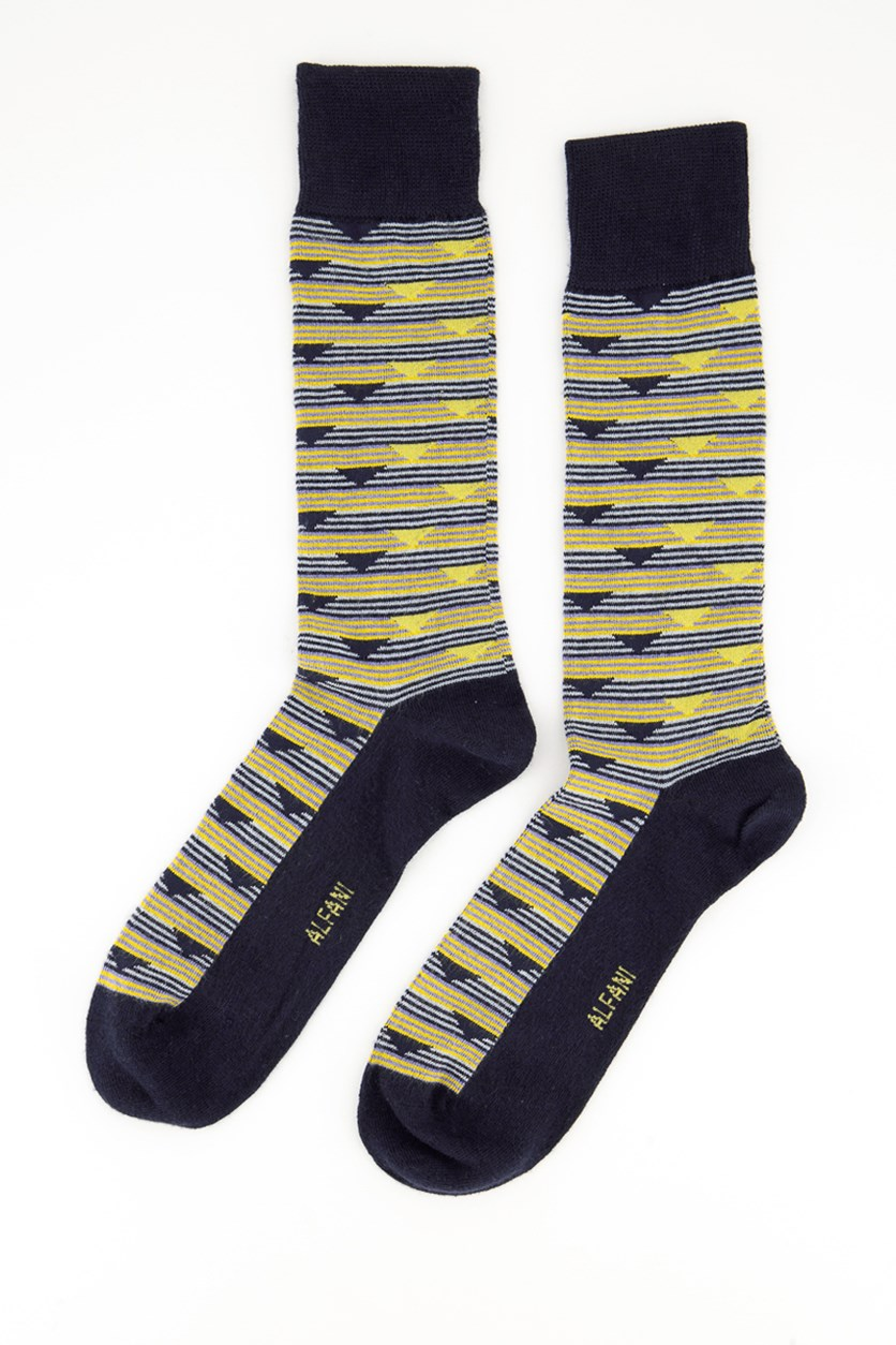 Men's Triangle Stripe Socks, Navy/Yellow