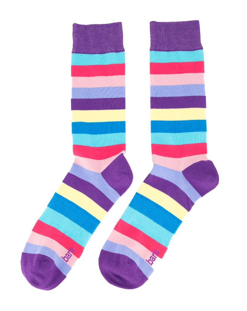 Men's Striped Socks, Purple/Pink Combo