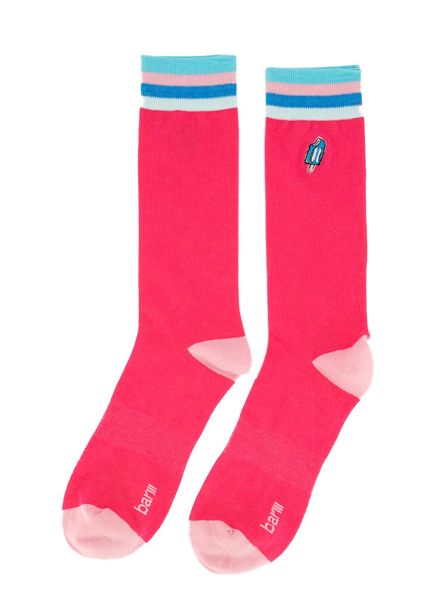 Men's Embroidered Socks, Pink Combo
