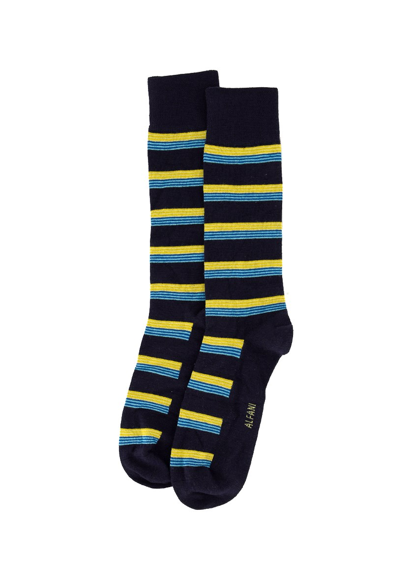 Mens Multi Thin Stripes Seamless Moisture Wicking Dress Socks, Navy