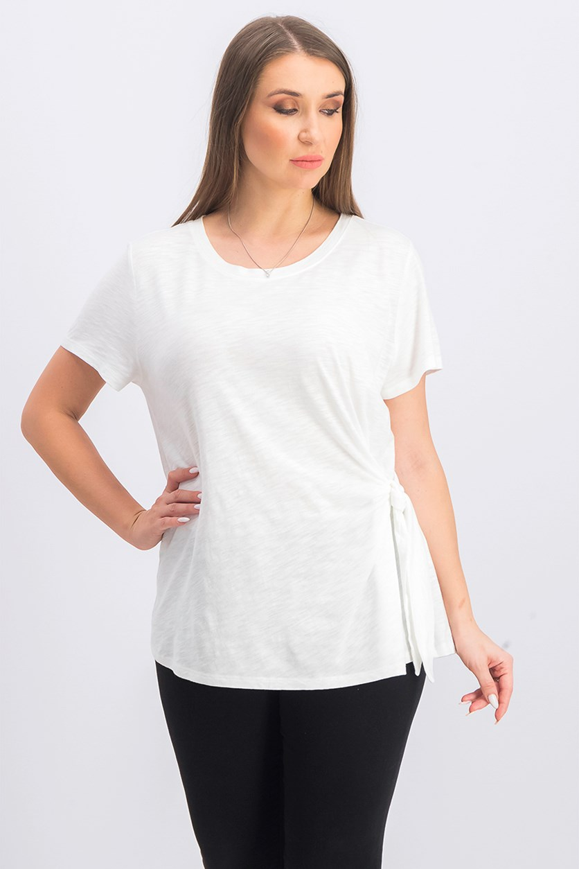 Women's Petite Side-Tie Top, Winter White