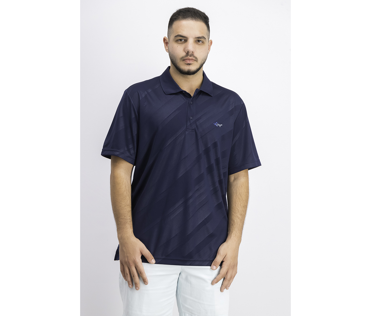 Men's Embossed Logo Polo, Basic Navy