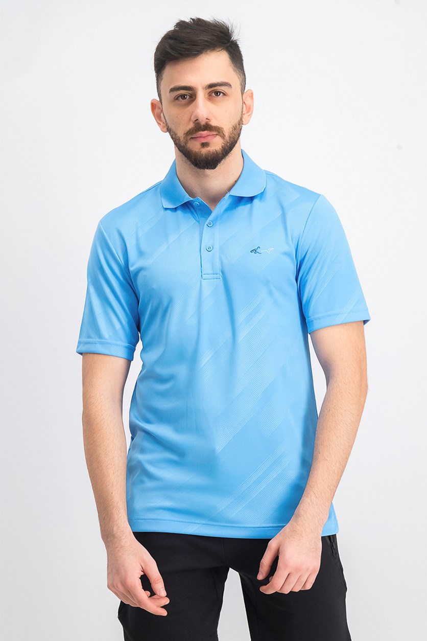 Men's Embossed Logo Polo, Blue Point