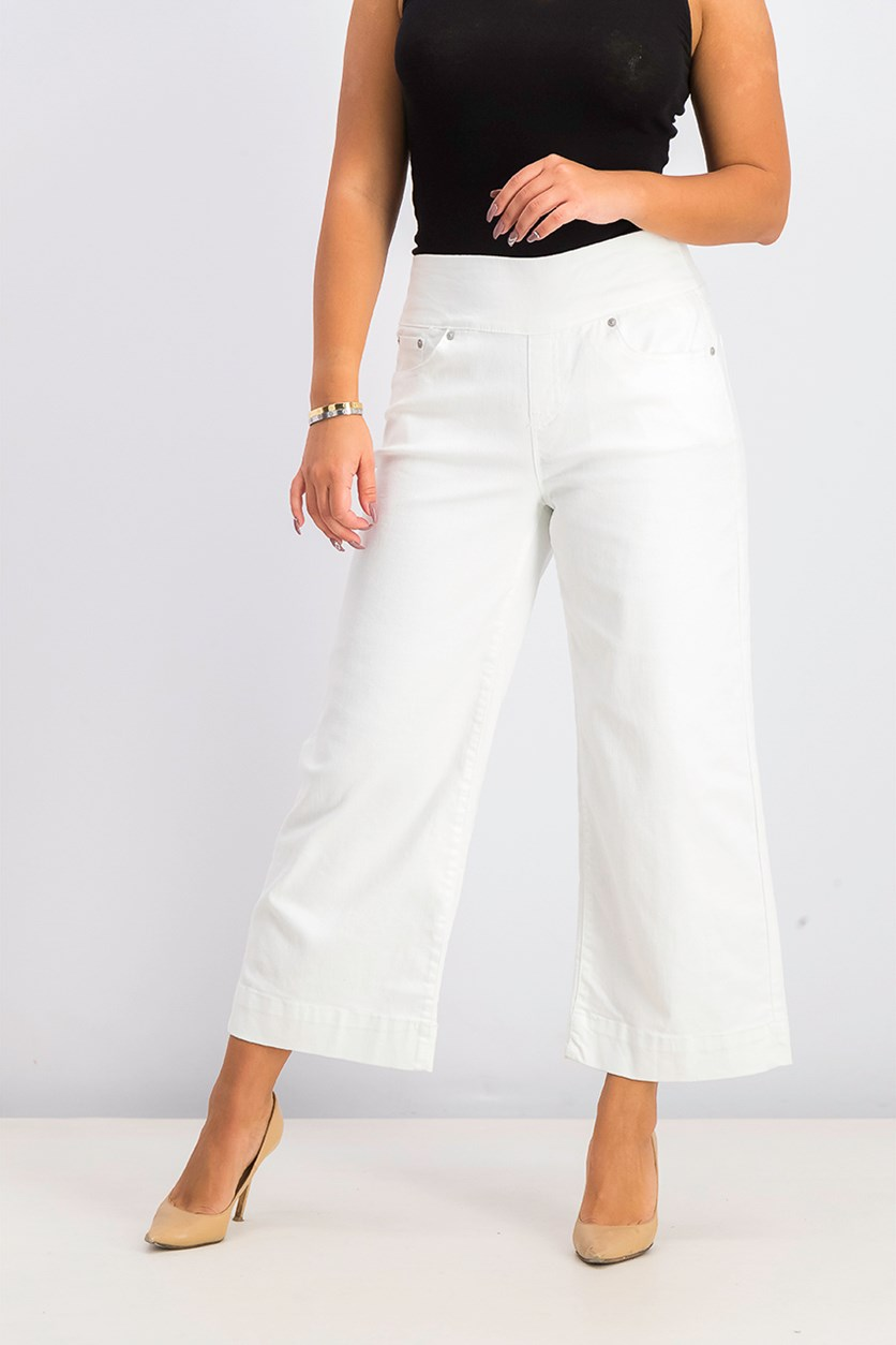 Women's Wide-Leg Cropped Pull-On Pants, Bright White