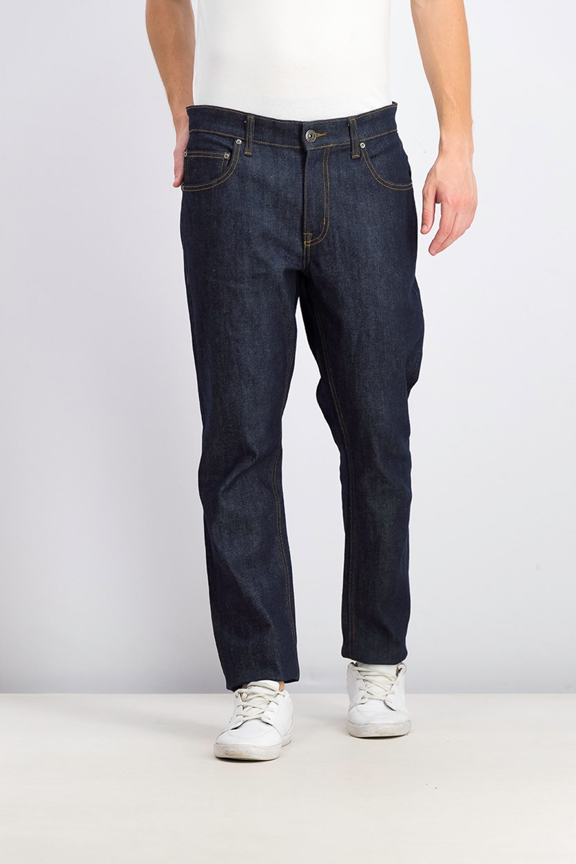 Men's Slim Straight Fit Dark Jeans, Navy Blue