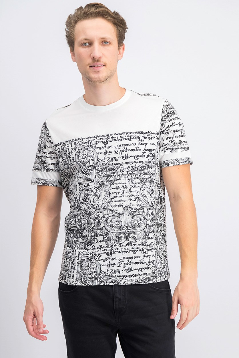 Men's Colorblocked Baroque Graphic T-Shirt, White Pure Combo
