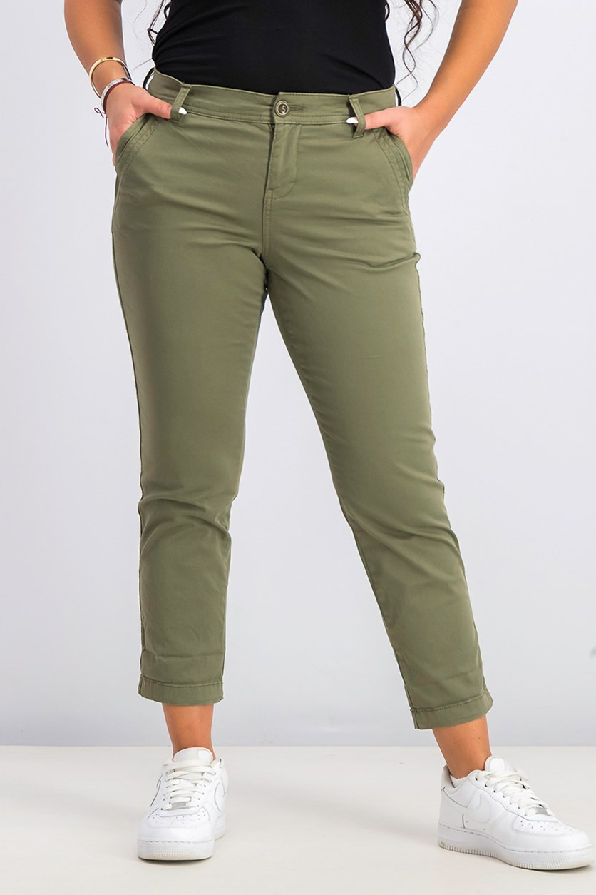 Women's  Petite Slim Ankle Pants, Olive