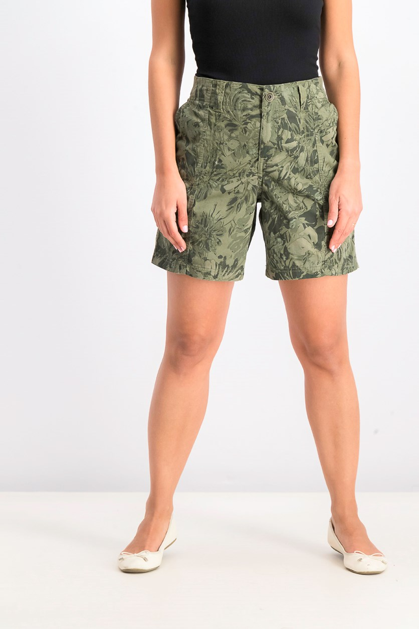 Women's Printed Cargo Shorts,  Olive Floral