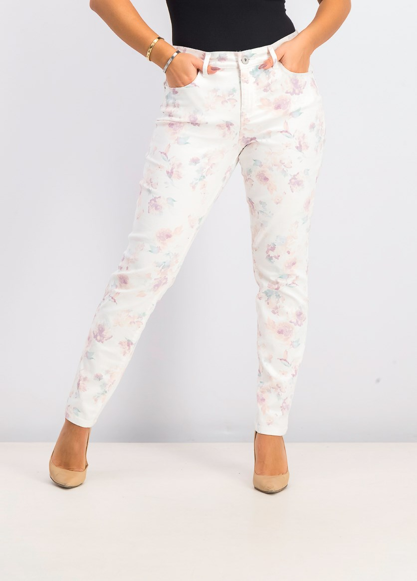 Women's Floral-Print Skinny Jeans, Cream