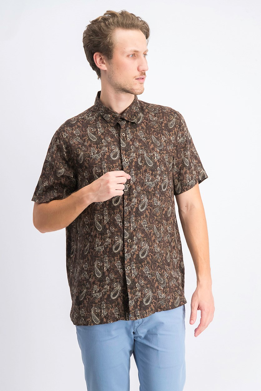 Men's Merzo Paisley Linen Shirt, Brown Combo