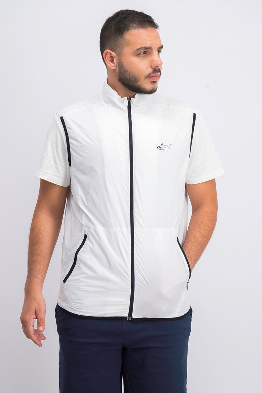 Mens Colton Zip-Front Vest, Bright White