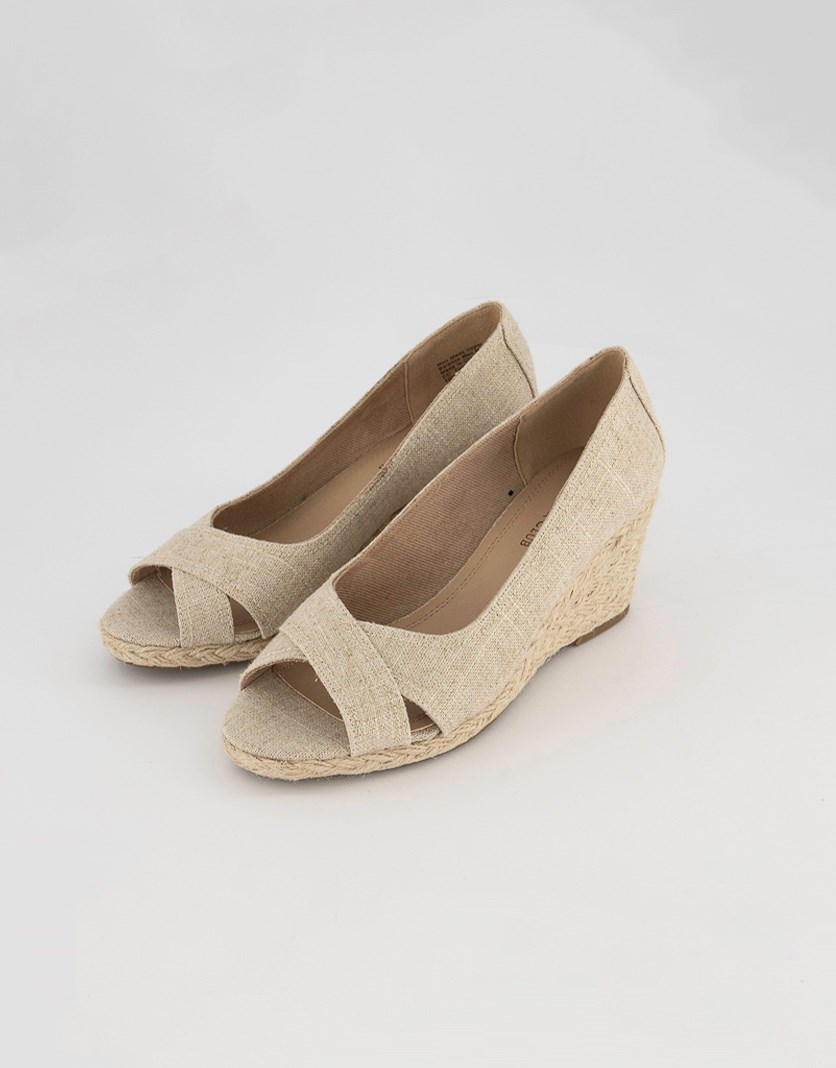 Womens Toniie Fabric Peep Toe Wedge Pumps, Natural