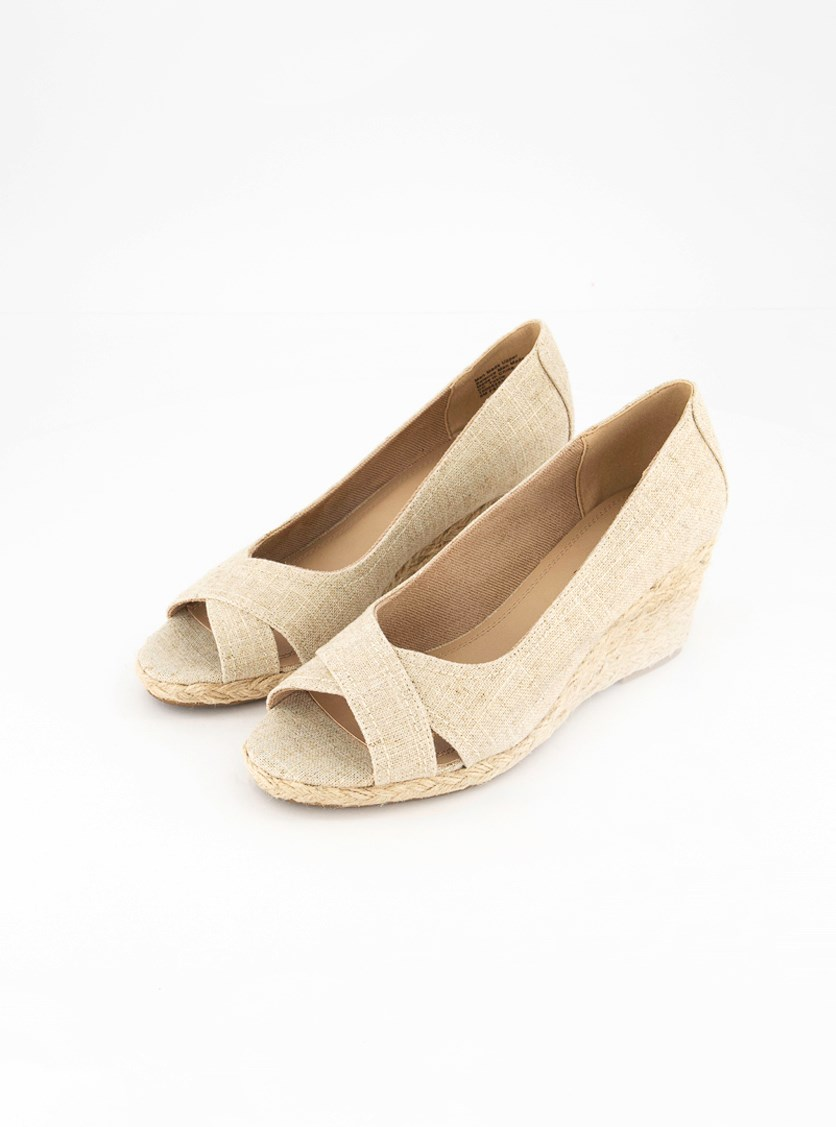 Women's Toniie Fabric Peep Toe Wedge Pumps, Natural