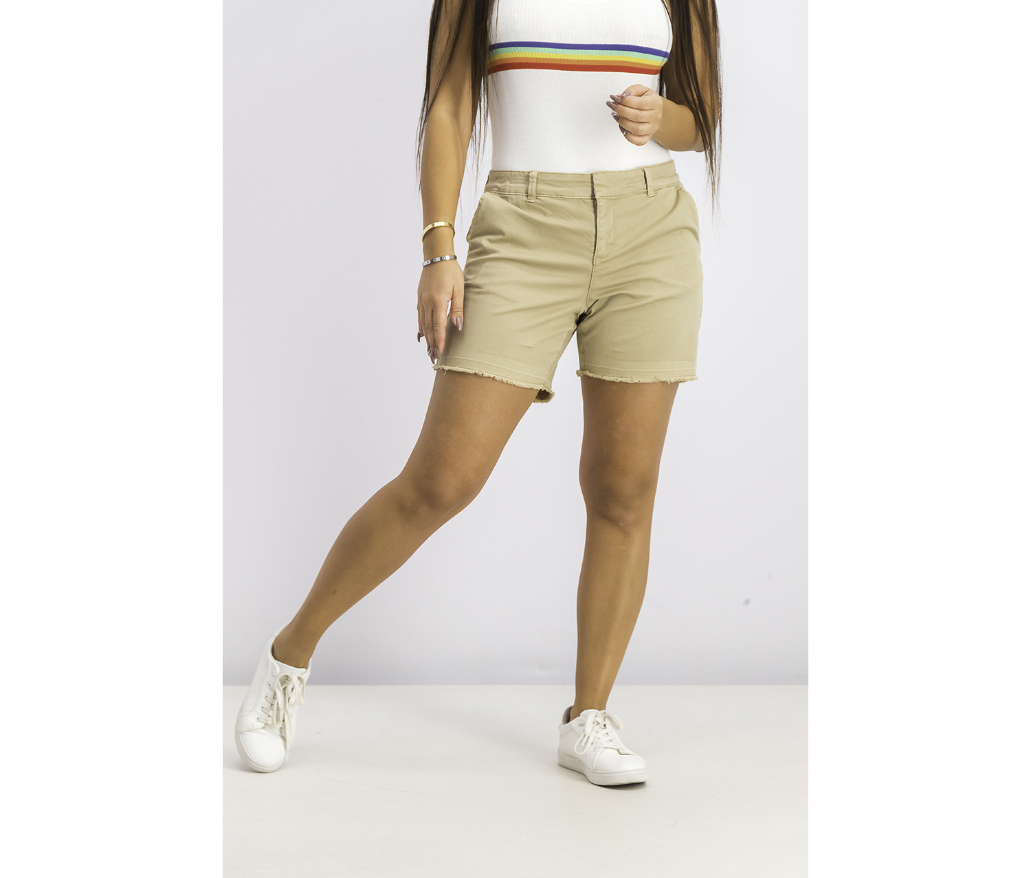 Petite Released-Hem Chino Shorts, Almond Khaki