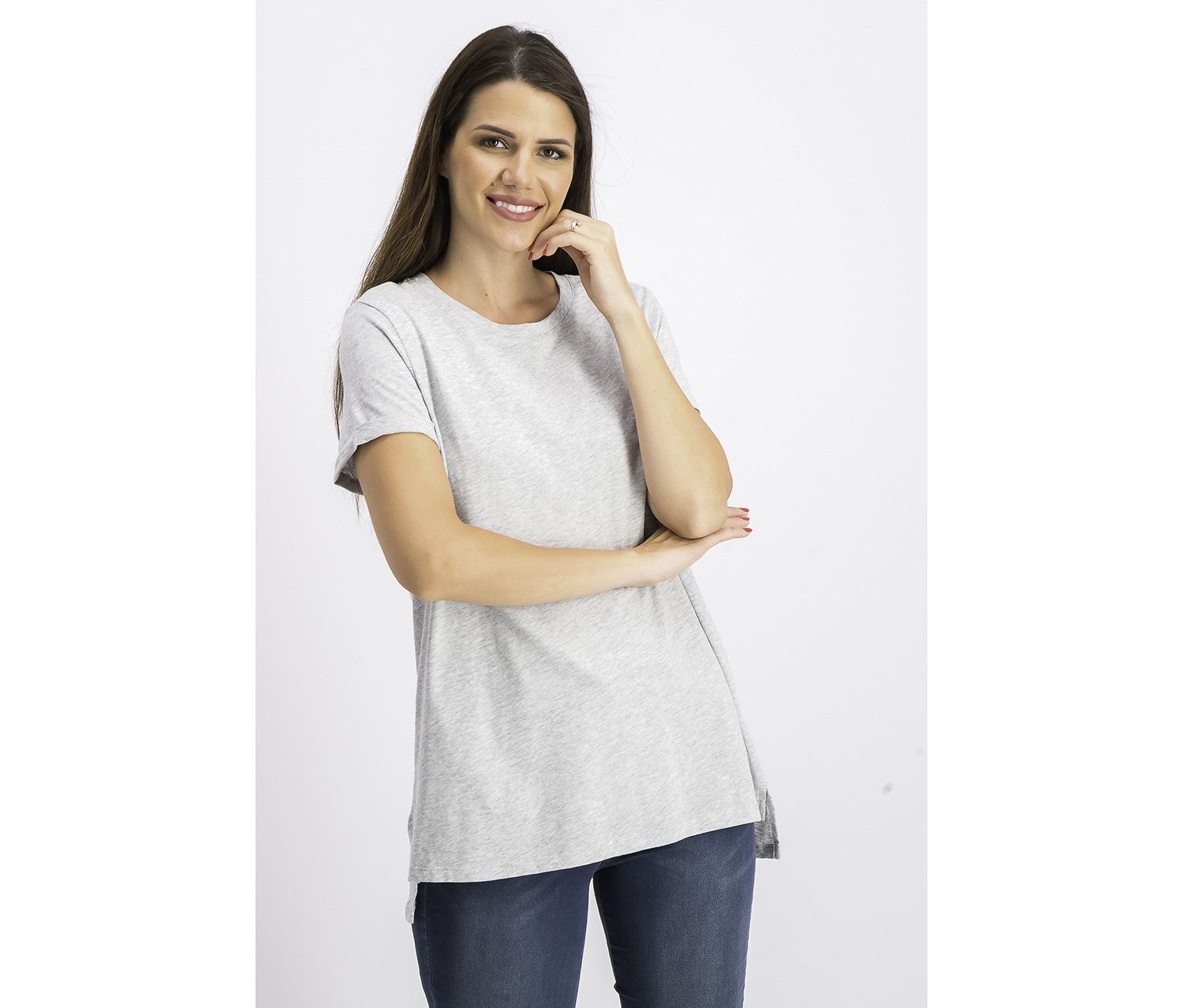 Women's High-Low T-Shirt, Grey Heather