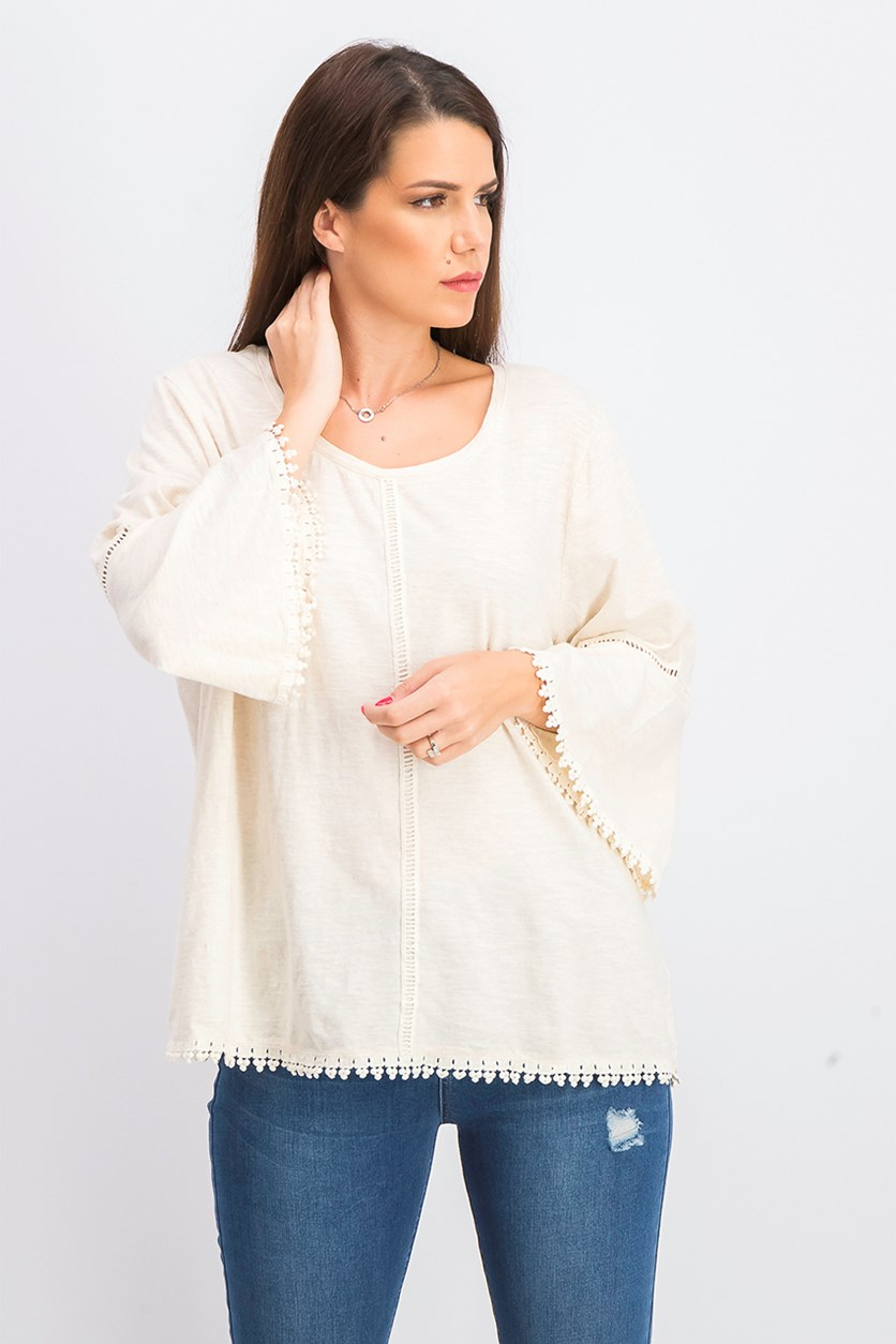 Women's Crochet-Trim Bell-Sleeve Top, Oatmeal Heather