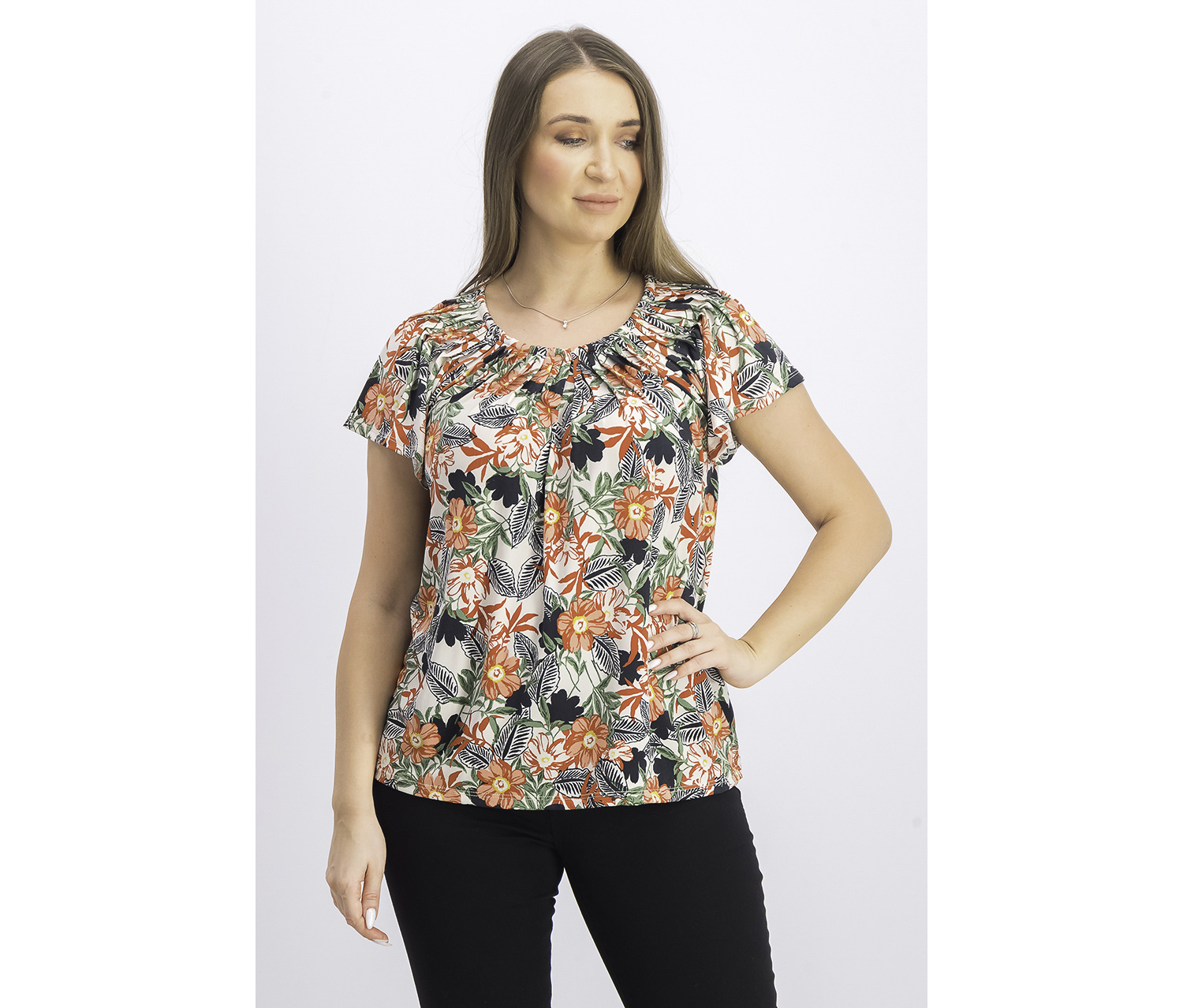 Women's Printed Pleated Scoop-Neck Top, Traveling Bloom