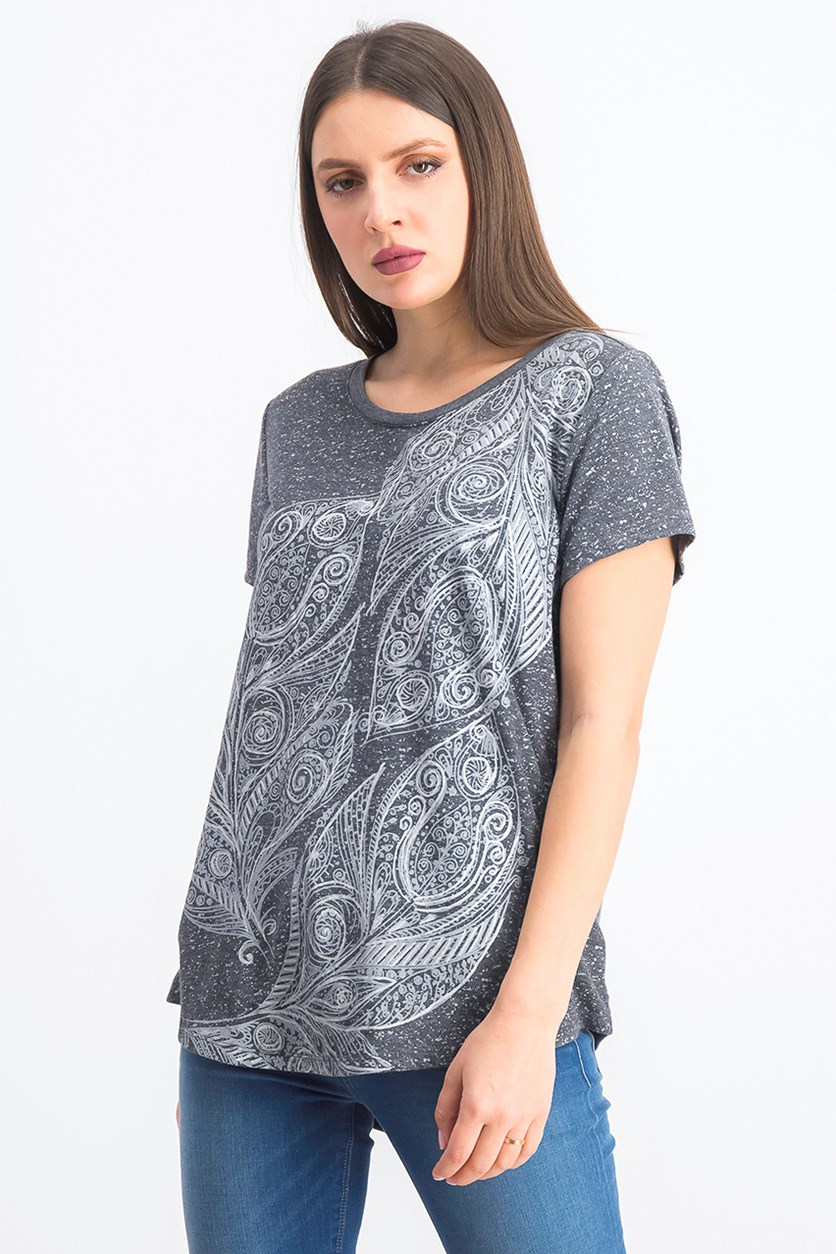 Women's Graphic Scoop-Neck Top, Fortune Leaves