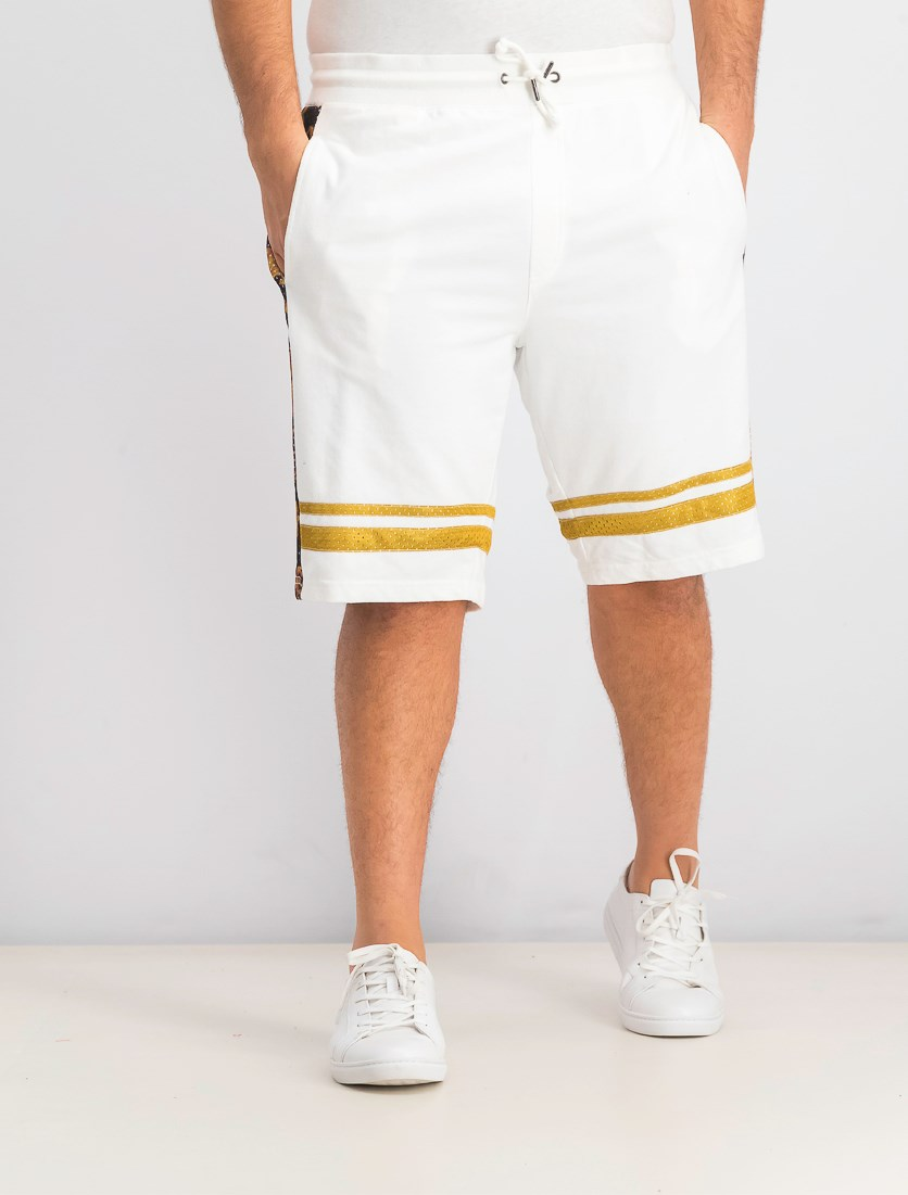 Men's Baroque Mesh Overlay Shorts, White Pure