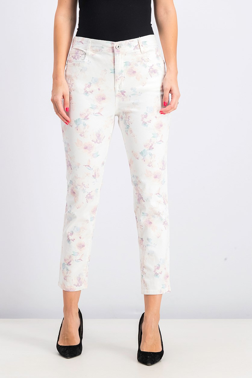 Petite Tummy-Control Printed Skinny Pants, French Orchid
