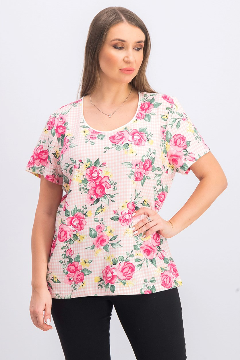 Women's Short Sleeve Mixed-Print Top, Coral Lining
