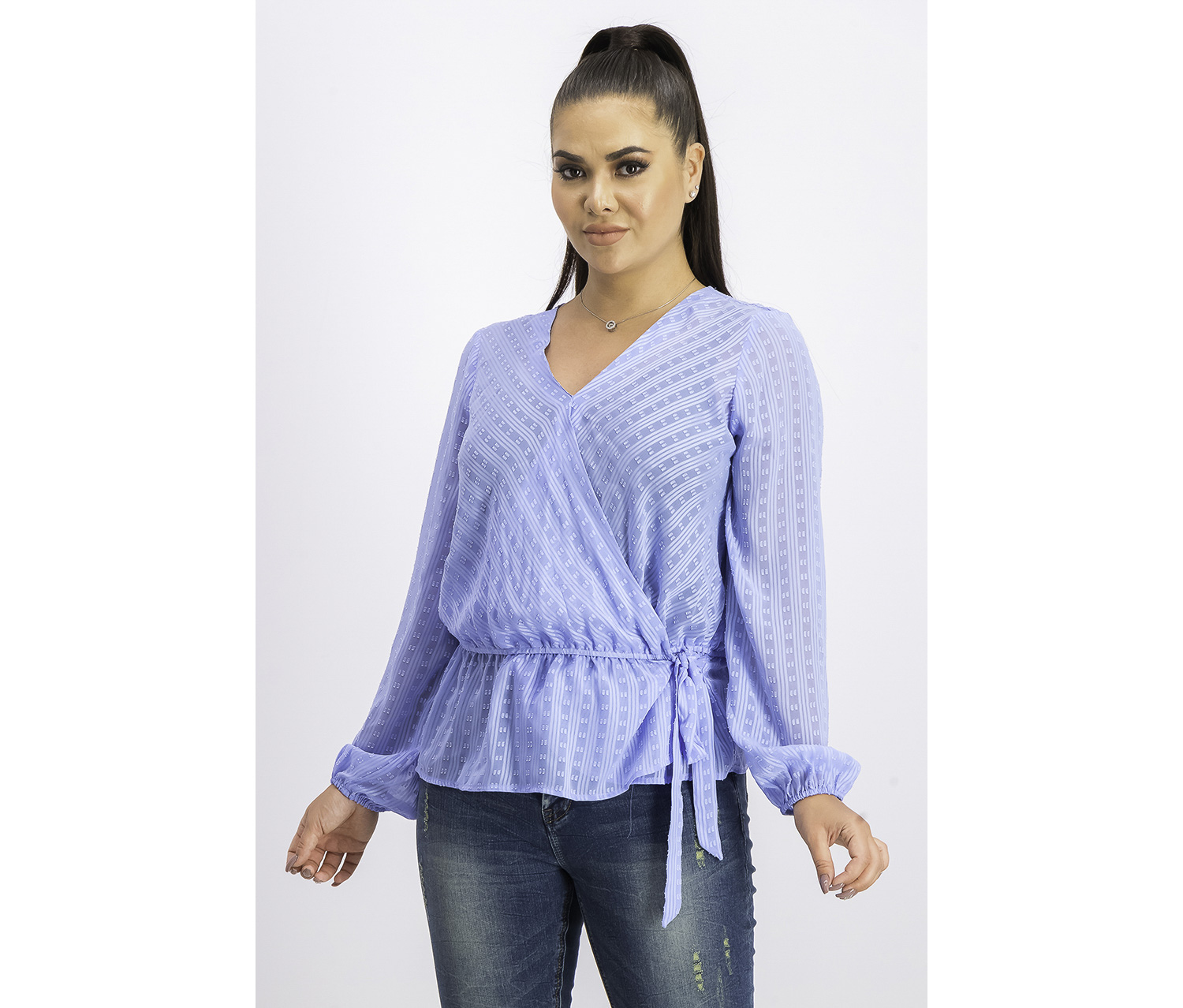 Women's Peplum Illusion Wrap Top, Yacht Blue