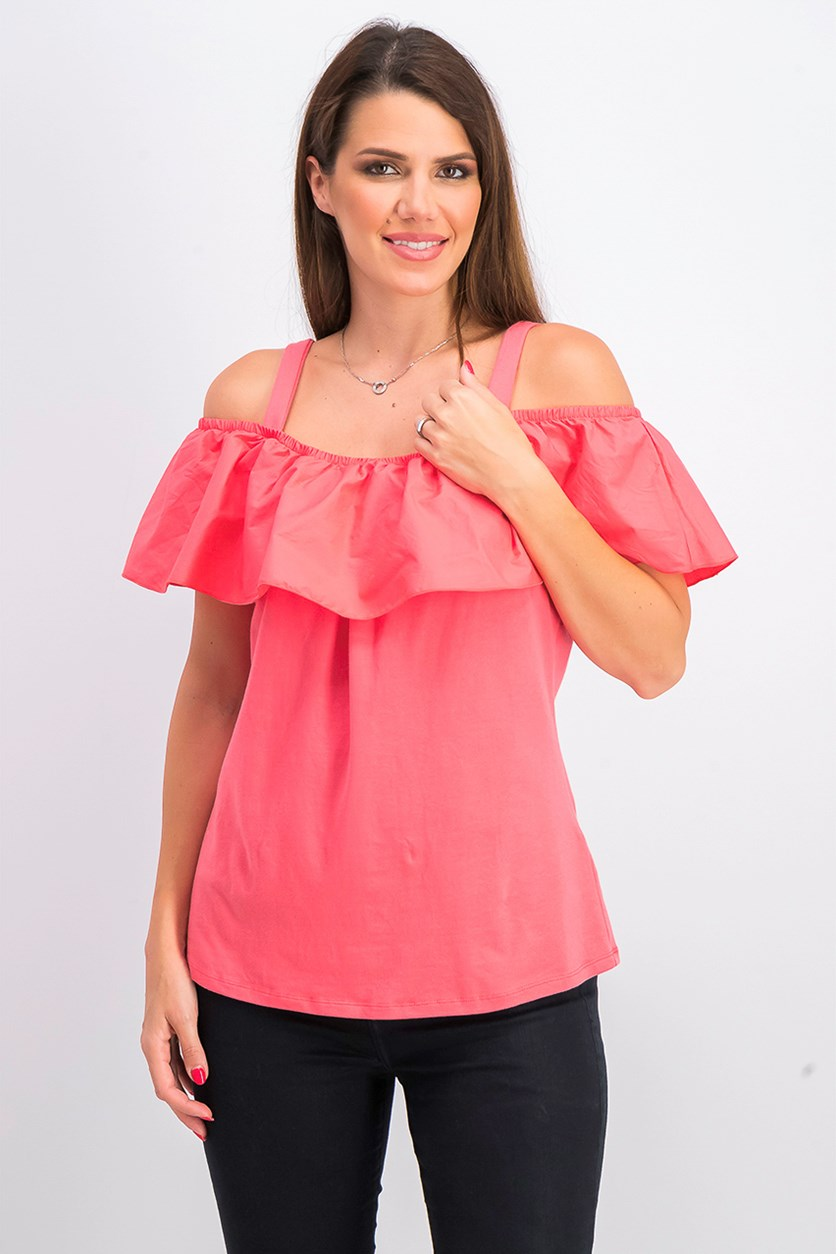 Women's Ruffled Off-The-Shoulder Top, Polished Coral