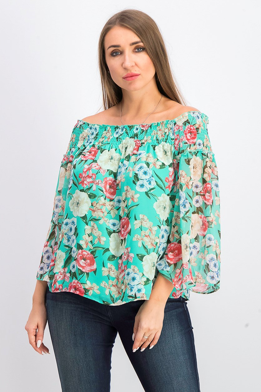 Women's Printed Off Shoulder Peasant Top, Green Combo
