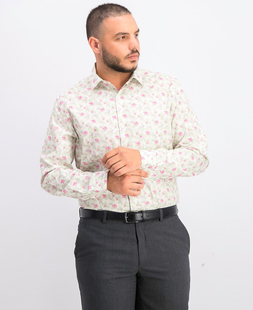 Men's Slim-Fit Stretch Tropical Hibiscus Dress Shirt, White Pink
