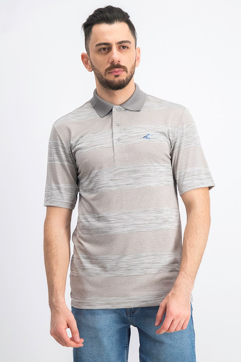 Men's Heather Stripe Polo, Sliver Opd