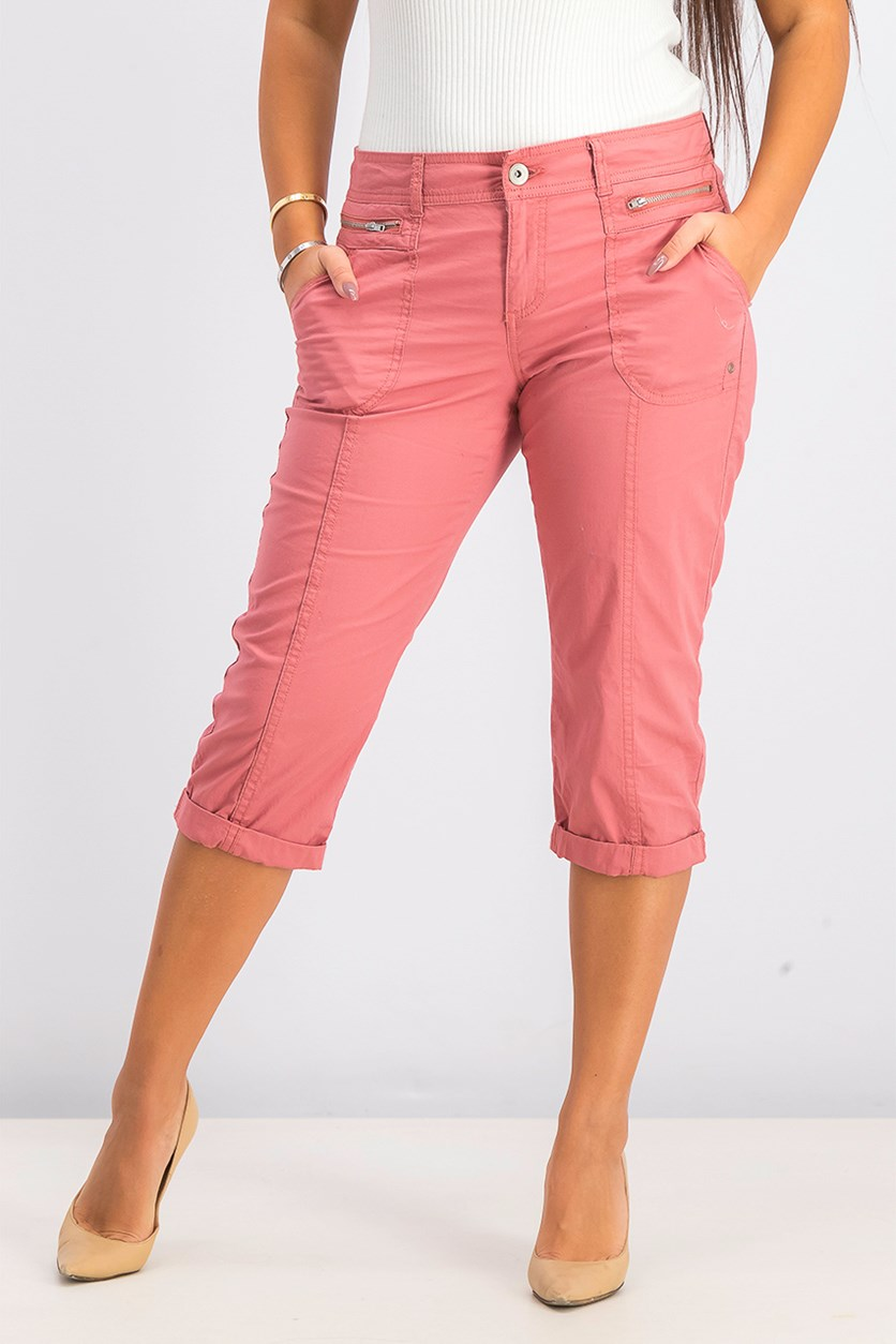 Women's Petite Cuffed Capri, Red Salmon
