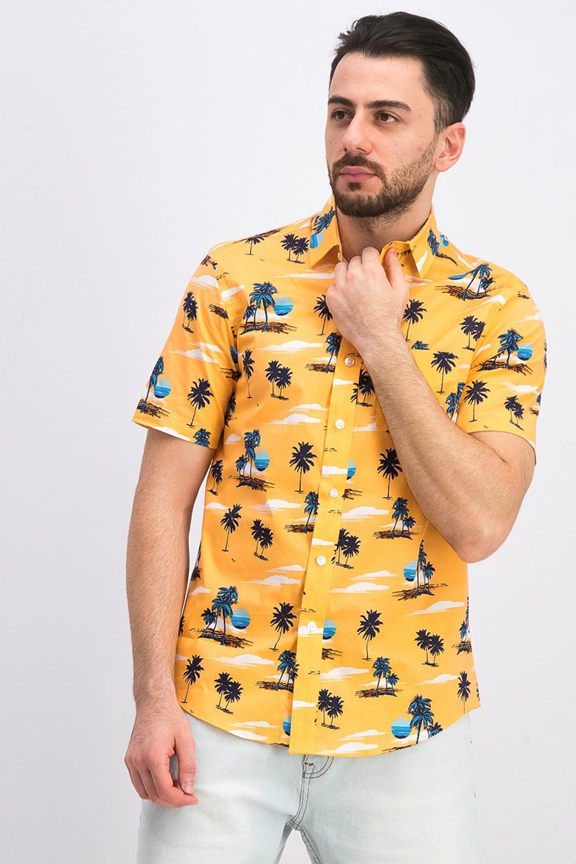 Men's Sunset-Print Shirt, Sunshine Orange