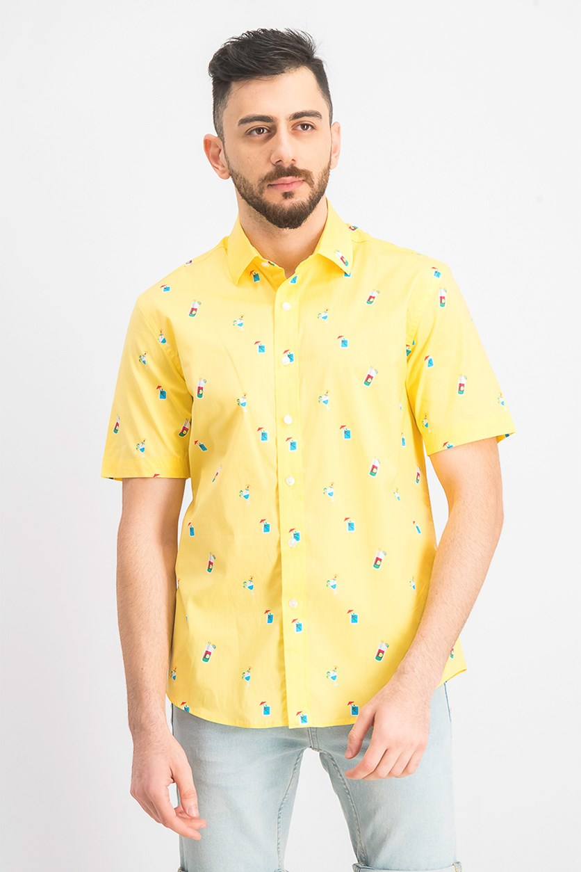 Men's Cocktail-Print Shirt, Lemon Drizlze