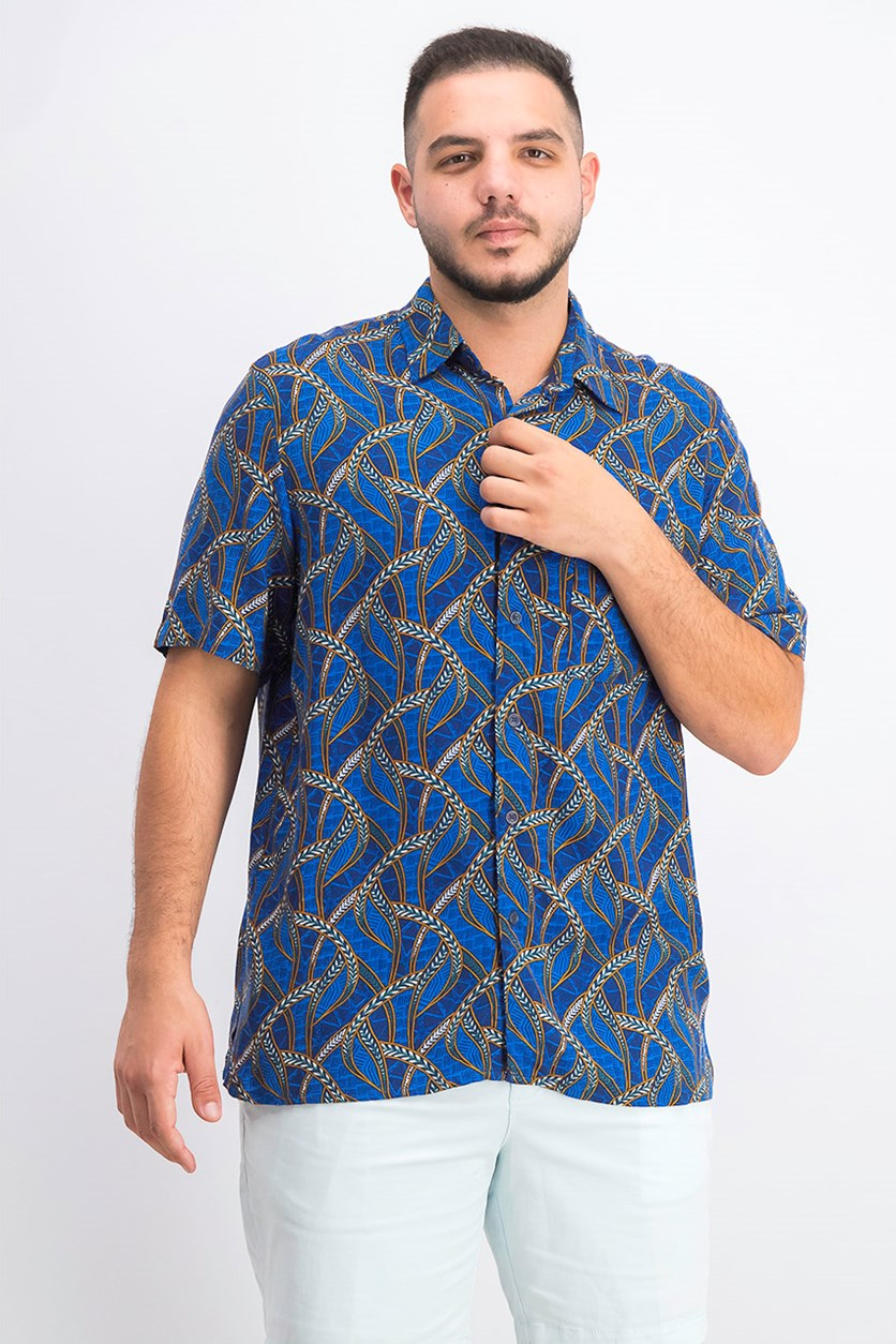 Men's Congo Grass Printed Silk Shirt, Blue Combo