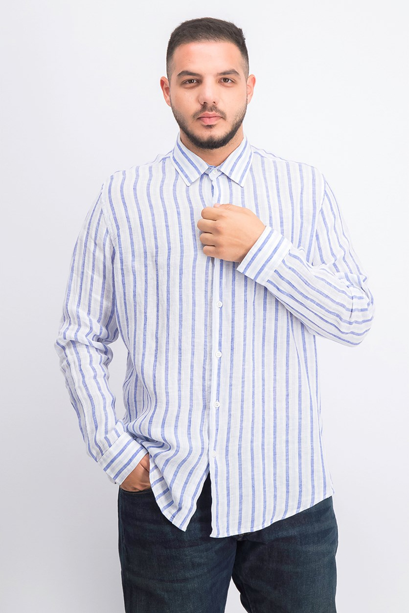Men's Stripe Down Button Shirts, Blue
