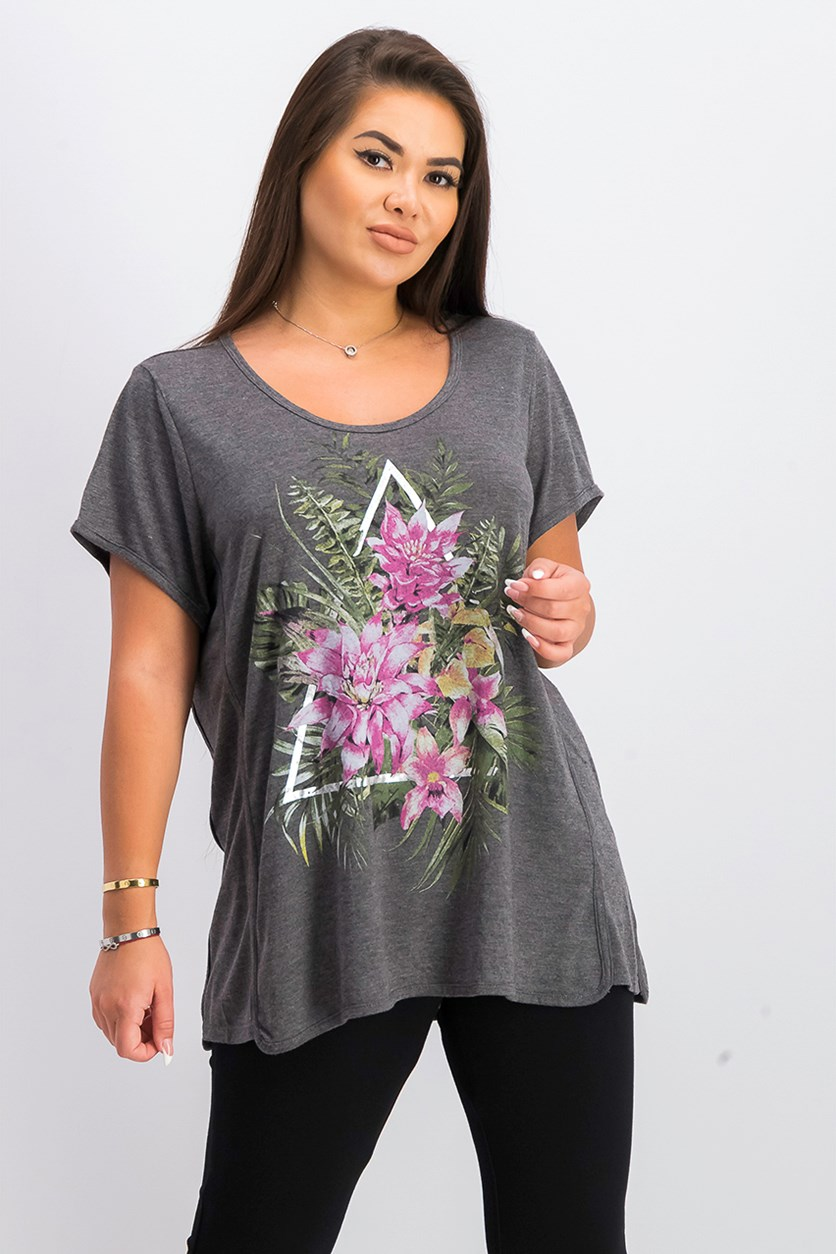 Women's Graphic-Print T-Shirt, Garden Cluster